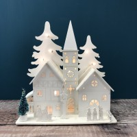 LED Alpine White Wooden Christmas Village