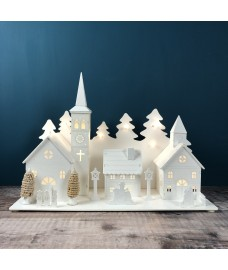 LED Lucerne White Wooden Christmas Village