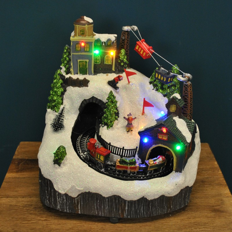Christmas Alpine Skiing Village Scene Ornament with Lights Moving Train and Sound