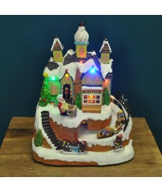Christmas Bakery Scene Ornament with Lights Moving Train and Sound