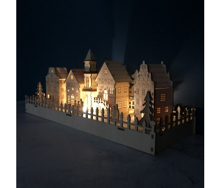 LED Annecy Wooden Christmas Village