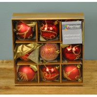 Red & Gold Decorated 6cm Bauble Decorations (Set of 9)