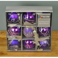 Purple Decorated 6cm Bauble Decorations (Set of 9) by Premier