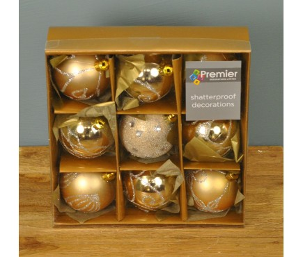 Champagne Gold Decorated 6cm Bauble Decorations (Set of 9)