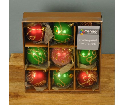 Red & Green Decorated 6cm Bauble Decorations (Set of 9)