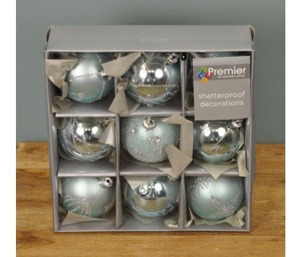 Ice Blue Decorated 6cm Bauble Decorations (Set of 9)