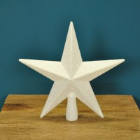 White Glitter Star Christmas Tree Topper (20cm)
