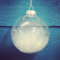 White Feather Clear Glass Christmas Tree Bauble (8cm) by Premier
