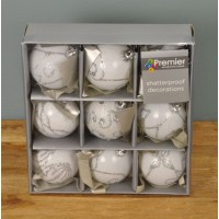 White Decorated 6cm Bauble Decorations (Set of 9) by Premier