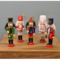 5 Wooden Nutcracker Christmas Decorations