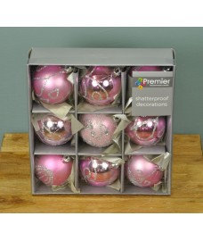 Pink Decorated 6cm Bauble Decorations (Set of 9) by Premier