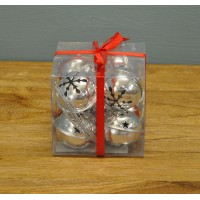 Pack of 8 Silver Jingle Bells Decorations