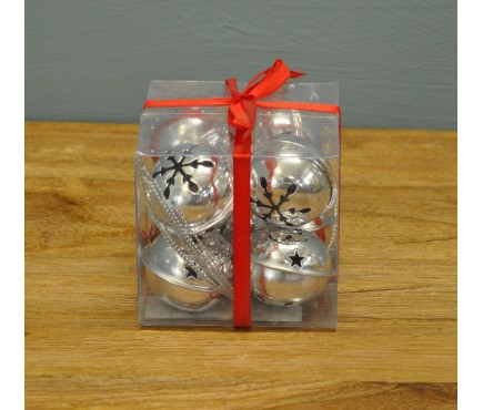 Pack of 8 Silver Jingle Bells Decorations by Premier