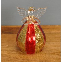 Glass Angel Christmas Bauble in Red & Gold (12cm)