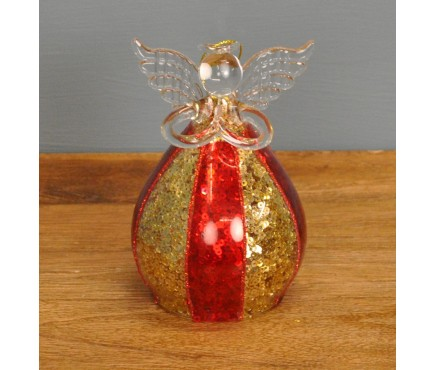 Glass Angel Christmas Bauble in Red & Gold (12cm) by Premier