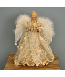 Fairy Christmas Tree Topper With Feather Wings (Ivory & Gold Dress) by Premier