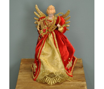 Fairy Christmas Tree Topper With Harp (Red & Gold Dress) by Premier