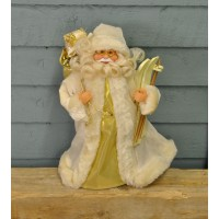 Santa with Skis Christmas Tree Topper in Cream by Premier