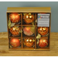 Copper Decorated 6cm Bauble Decorations (Set of 9) by Premier