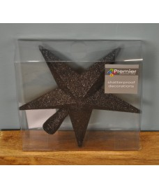 Black Glitter Star Christmas Tree Topper (20cm)
