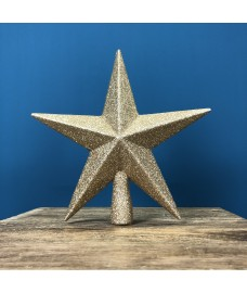 Champagne Gold Glitter Star Christmas Tree Topper (20cm)