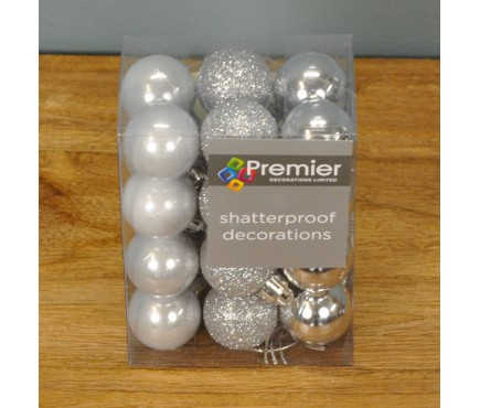 Silver Decorated 3cm Bauble Decorations (Set of 24)