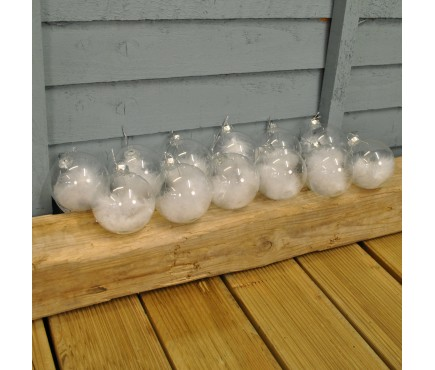 Set of 12 x White Feather Clear Glass Christmas Tree Baubles (8cm)