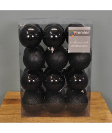 Black Decorated 6cm Bauble Decorations (Set of 24)