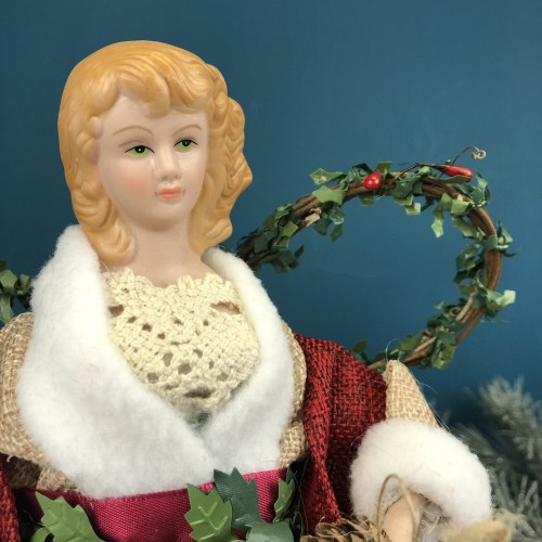 With Red Shawl and Green Dress Titania Fairy Christmas Tree Topper Angel