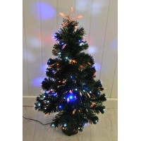 90cm LED & Fibre Optic Artificial Green Christmas Tree by Kingfisher