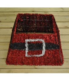 Red Tinsel Christmas Tree Skirt Surround by Premier