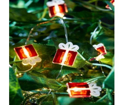 Battery Operated Christmas Present String Lights Set of 10 by Three Kings