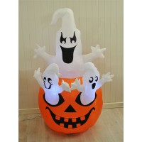 Inflatable Pre-Lit Pumpkin and Ghosts Halloween Decoration (Mains)