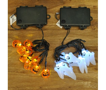 2 x Sets of 10 LED Halloween String Lights - Pumpkin & Ghosts (Battery) by Smart Solar