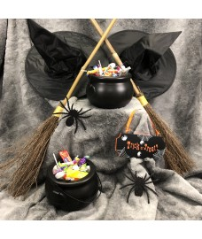 Traditional Besom Broom Witches Broom (Set of 2) with Cauldrons and Witches Hats