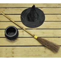 Traditional Besom Broom Witches Broom with Cauldron and Witches Hat