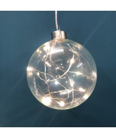 Battery Operated LED Crystal Orb Light Christmas Decoration by Three Kings