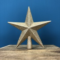 Champagne Gold Glitter Star Christmas Tree Topper (20cm) by Premier