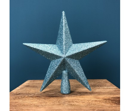 Ice Blue Glitter Star Christmas Tree Topper (20cm) by Premier