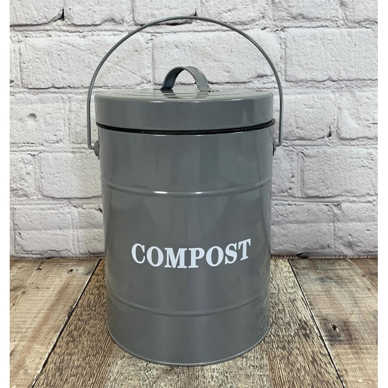 Factory Second - Large Kitchen Composter Caddy with Inner Bucket and 3 Filters in French Grey