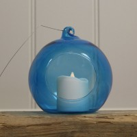 Blue Glass Hanging Bauble Tealight Holders (Set of 4) by Gardman