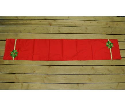 Holly Poinsettia Christmas Table Runner (180cm) by Premier