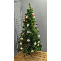 6ft (180cm) Green Fibre Optic Artificial Christmas Tree with Baubles, Berries & Cones by Premier