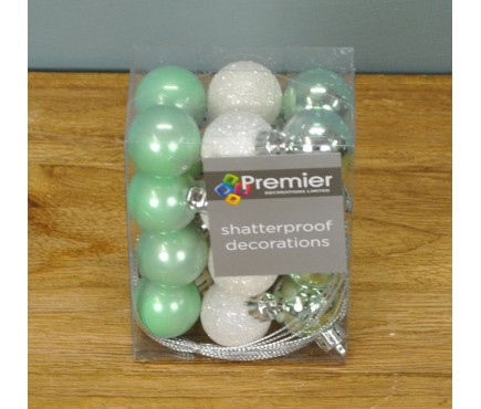 Light Green Decorated 3cm Bauble Decorations (Set of 24) by Premier