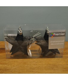 Black Glitter 10cm Christmas Tree Stars (Set of 6) by Premier