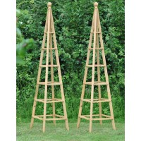 Set of 2 Wooden Garden Obelisks (1.9m)