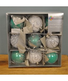 Light Green & White Decorated 6cm Bauble Decorations (Set of 9) by Premier