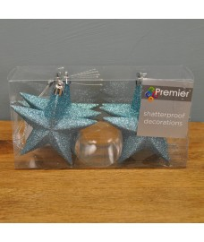 Ice Blue Glitter 10cm Christmas Tree Stars (Set of 6) by Premier