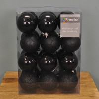 Black Decorated 6cm Bauble Decorations (Set of 24) by Premier