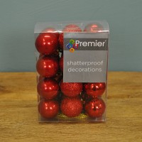 Red Decorated 3cm Bauble Decorations (Set of 24) by Premier